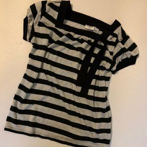 Cato girls Black and Silver striped top Size L